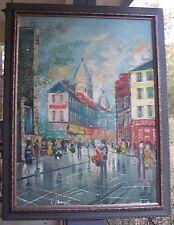 Old Vintage Original Signed French Paris Street Scene Oil Painting Framed France