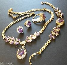 SE38. Sim diamond & AMETHYST GOLD GF STATEMENT necklace bracelet ring earrings
