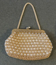 Woven Gold Metallic Metal Frame Plastic Beads Purse Clutch Evening Bag EUC