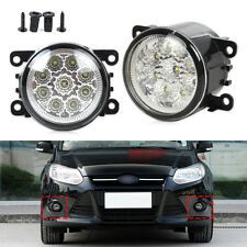 For Ford Focus Honda Subaru 9LED Round Front Fog Lamp DRL Daytime Running Light