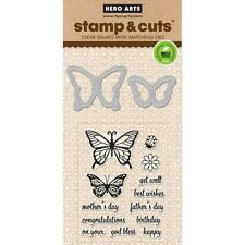 Hero Arts Stamp & Cut Butterfly Pair #832 DC182 Stamp with Die