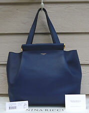 NEW $1790 Nina Ricci Medium Thais Tote Dark Navy Blue Hand Bag