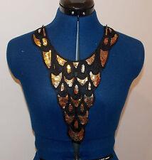 gold sequin black patch lace YOKE chest applique motif dress dance costume