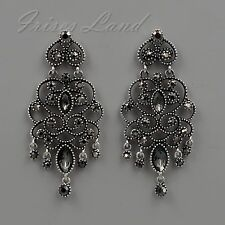 Antique Silver Tone Jet Hematite Crystal Chandelier Drop Dangle Earrings 08262
