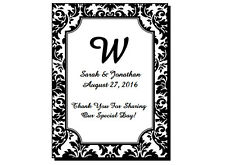 """30 Personalized Glossy Damask Wedding Mini Wine Favor Labels Stickers 2x2.675"""""""