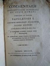 ***COMMENTARII INSITUTIONUM JUSTINIANI*** J. RAINERI - TORINO 1809