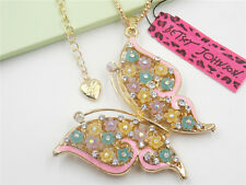 New Betsey Johnson Crystal Butterfly Necklaces Pendants #B113