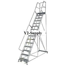 """NEW! Perforated 24""""W 15 Step Steel Rolling Ladder 14""""D Top Step!!"""