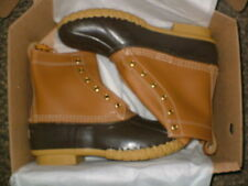 "LL Bean Mens 8"" Leather Duck Boots Beige Tan/Brown Sz 9 *fits Sz 10* MED NEW"