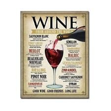 Vintage Wine Metal Tin Sign International Wines Wall Art Home Kitchen Decor New