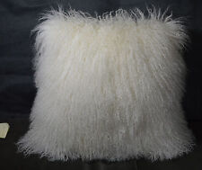 "Real Mongolian lamb Natural white 18 x 18"" Fur Pillow made in usa Tibet cushion"