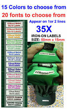 35x Colour Font - Iron On School Name Labels Tags Printed,(Appear on 2 lines)