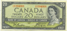 Bank of Canada 1954 $20 Twenty Dollars Devil's Face Portrait C/E Prefix VF