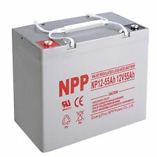 NPP 12V 55 Amp 12 Volt 55Ah 60Ah UPS Deep Cycle Rechargeable AGM Battery