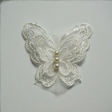 10 Embroidery Butterfly Pearl Sew On Patches Badge Bride Wedding Dress Applique