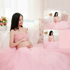 New Women Maternity Photography Clothing Pink Bra + Voile Skirt Photo Shoot Prop