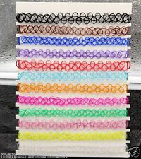 12 COLORS Stretchable Tattoo Choker Necklace Pack Set Combo 12 in a pack
