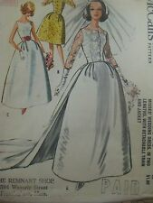 Vintage 60s McCalls 6605 WEDDING DRESS DETACHABLE TRAIN Sewing Pattern Women