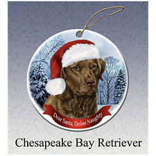 Chesapeake Bay Retriever Howliday Porcelain China Dog Christmas Ornament