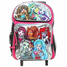 "Monster High 8 Girls Large 16"" inches Rolling Backpack - Silver - BRAND NEW"
