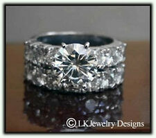 6.75 CT MOISSANITE ROUND FOREVER BRILLIANT SEMI ETERNITY WEDDING SET RING
