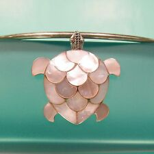 """2"""" Large Turtle Mother of Pearl Shell 925 Sterling Silver Handmade Pendant"""