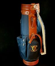 NM Vintage Gregory Paul Golf Club Bag, Navy Blue Leather Vinyl Original Tag $170
