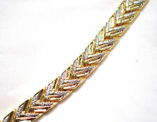 LADIES 8 INCH MAGNETIC THERAPY LINK BRACELET: Gold & Silver Chevron; For Pain!