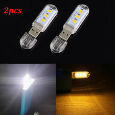 2Pcs Warm White USB Power 3 LED Mini Night Light Lamp for PC Laptop Reading Hot
