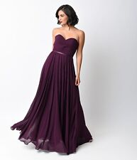 Women's Formal Strapless Lace Up bridesmaid Long Evening Gown prom dress