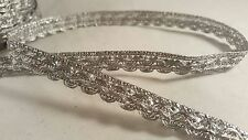1cm- 1 meter Beautiful silver woven lace trim with gold sequence for crafting