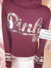Victoria's Secret Sequin Bling Burgundy Wine Hoodie Sweatshirt Jacket PiNK S