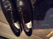 Men's PRADA Milano Darkest Brown/Black Leather Slip On Shoes Size UK 10 1/2 NEW