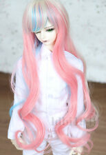 "1/4 7-8""LUTS SD BJD DOD Dollfie Doll Wig Long Curly Hair Colorful"