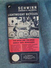 VINTAGE 1971 SCHWINN BICYCLE OWNERS MANUAL 5 & 10 SPEED BIKES w DERAILLEURS