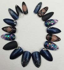 Hand Painted False Nails Navy Blue Black & Nude Stiletto Full Cover Glitter Tips