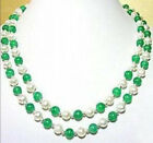 """Pretty! 7-8MM White Pearl Natural Green Jade Necklace 17-18"""""""
