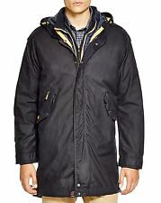 NWT Barbour Men's Jacket XL Navy Blue Kellen Waxed Cotton Rain Coat MSRP $599