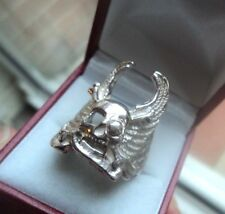 LARGE Silver Skull & Angel Wings Ring  -  Biker / Punk / Hells Angels  -  size W