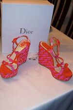 "NEW CHRISTIAN DIOR $850  ""DIOR DOLL""  ANKLE  STRAP  PLATFORM WEDGE  HEELS  SZ  9"
