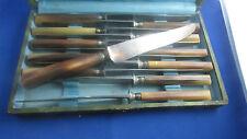 ancien coffret 12 grands couteaux lame acier epoque 1900