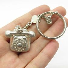 Vintage Sterling Silver Antique Cord Telephone Shaped Split Ring Key Chain