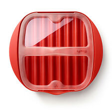 Lekue Microwave Bacon Maker & Cooker with Lid, Red