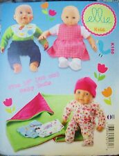 "McCalls Ellie Mae Designs K166 Pattern UNCUT 16"" Baby Doll Clothes Wardrobe"