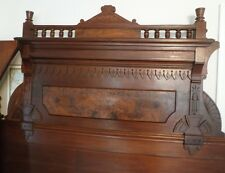 ANTIQUE VICTORIAN FLAT PANEL FULL BED MAHOGANY CARVED WOOD CIRCA 1800'S