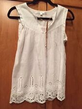 Ulla Johnson SZ 2 White 100% Cotton Embroidered & Eyelet Tunic Top