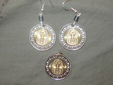 EGYPTIAN EGYPT KING TUT SPHINX JEWELRY COIN PENDANT AND EARRINGS SET