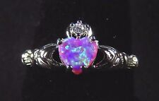 Sterling 925 Silver SF Size 10.5 Claddagh Ring 7mm Pink Lab Opal Heart & 2mm WT