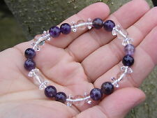 Quartz & Amethyst Gemstone Crystal Bead Bracelet A Grade 8mm & 6mm Beads