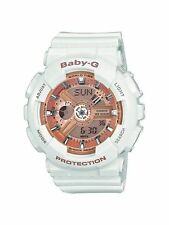 Casio BA110-7A1 Women's Baby-G Rose Gold Dial White Resin Strap Chrono Watch New